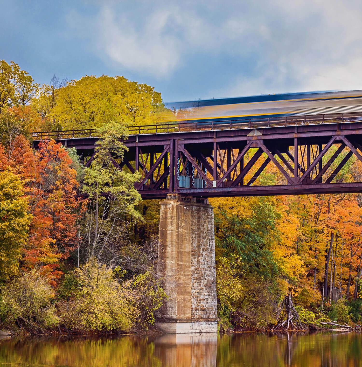 Railroad going over Grand River in Paris, Ontario